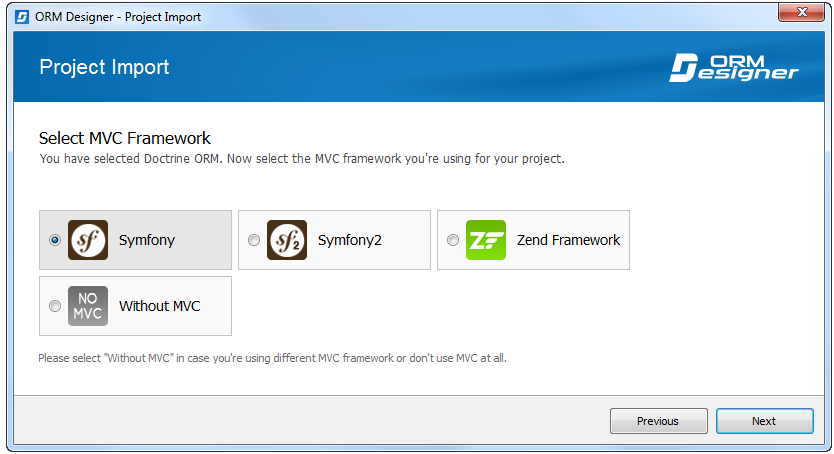 Import wizard: Select MVC framework