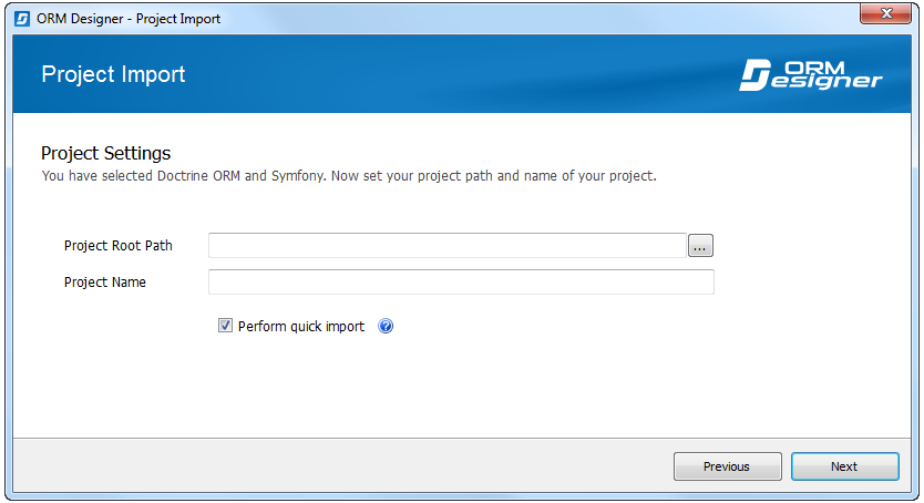 Import wizard: Project settings