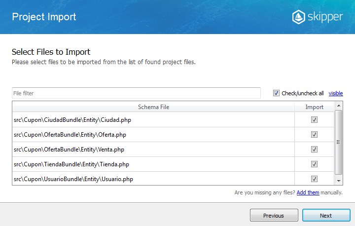 Skipper project import