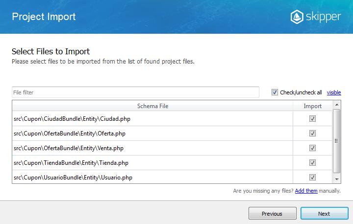Skipper project import